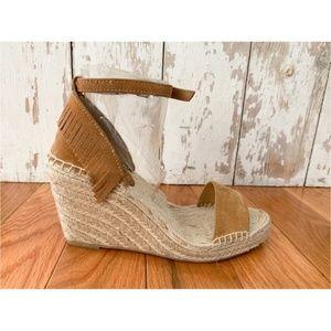Frye Shoes - Frye Lila Espadrille Fringe Brown Wedge Sandal
